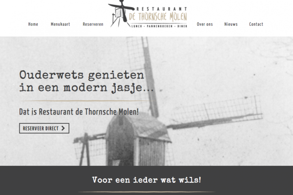 Website Restaurant De Thornsche Molen