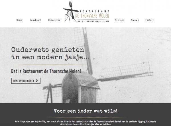 Website Restaurant De Thornsche Molen